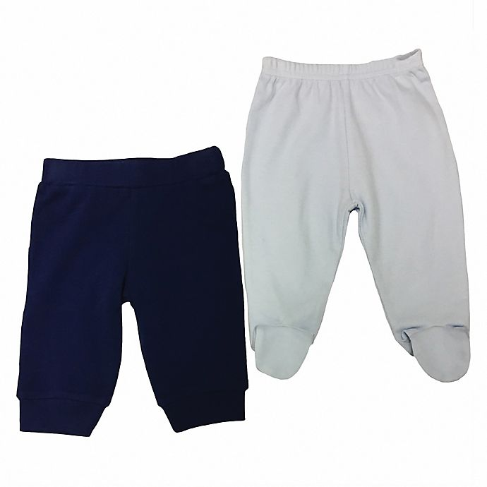 Alternate image 1 for Sterling Baby 2-Pack Open/Footed Pant in Blue