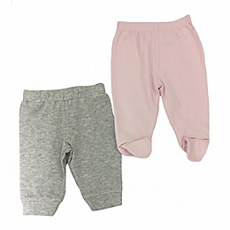 Sterling Baby 2-Pack Open/Footed Pant in Grey/Pink