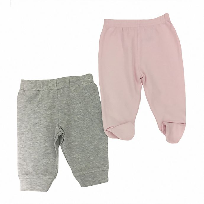 Alternate image 1 for Sterling Baby 2-Pack Open/Footed Pant in Grey/Pink
