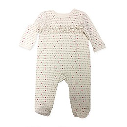 Sterling Baby Heart Print Ruffle Front Footie in Ivory/Grey/Pink