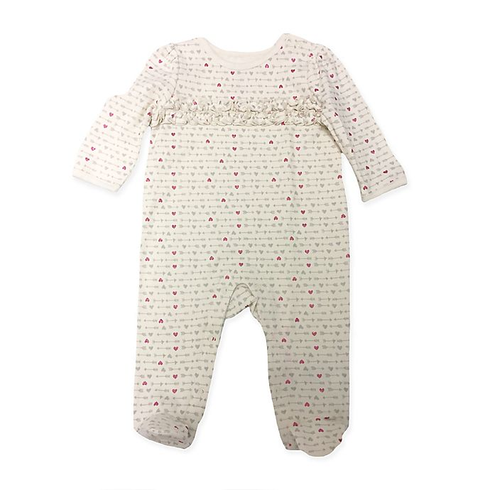Alternate image 1 for Sterling Baby Size 9M Heart Print Ruffle Front Footie in Ivory/Grey/Pink