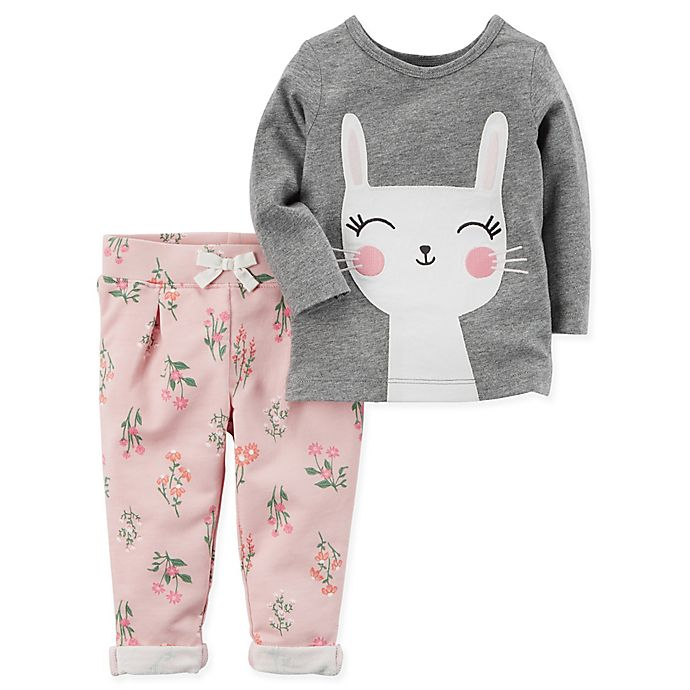 8a73d187e3e6 carter's® 2-Piece Bunny Face Top and Floral Pant Set in Grey   Bed ...