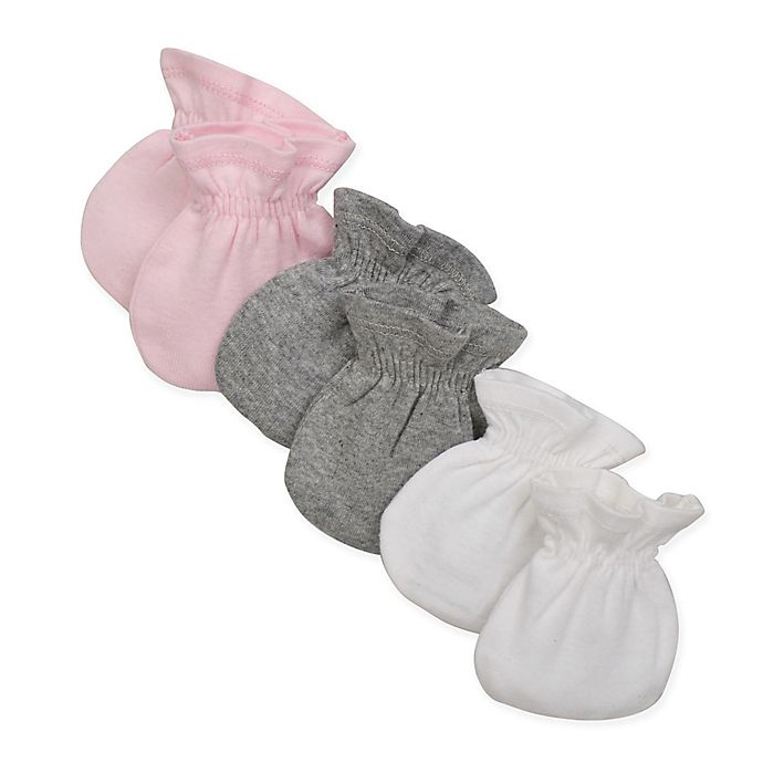 Alternate image 1 for Burt's Bees Baby 3-Pack Mittens in White/Pink