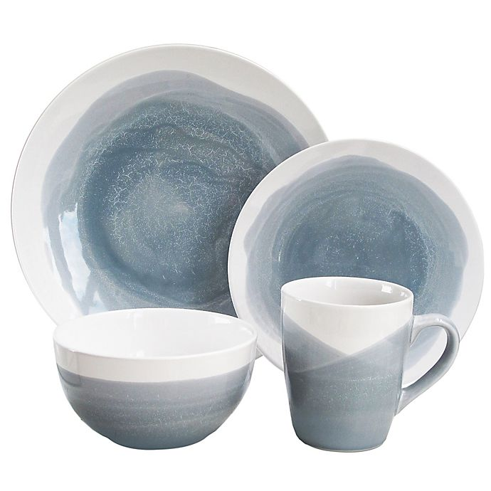 Alternate image 1 for American Atelier Oasis 16-Piece Dinnerware Set in Blue/Grey