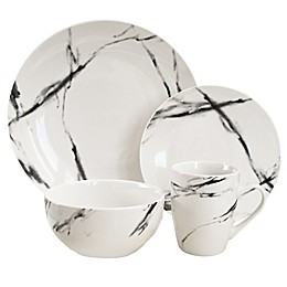 American Atelier Marble 16-Piece Dinnerware Set in Black