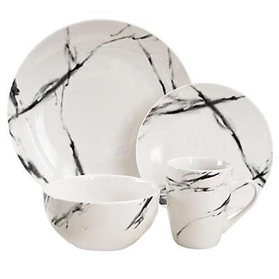American Atelier Marble 16-Piece Dinnerware Set in Black