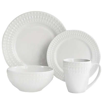 American Atelier Amelie Porcelain 16-Piece Dinnerware Set in White
