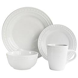 American Atelier Monique Porcelain 16-Piece Dinnerware Set in White