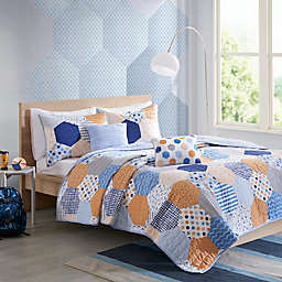 Urban Habitat Trevor Coverlet Set in Blue/Orange