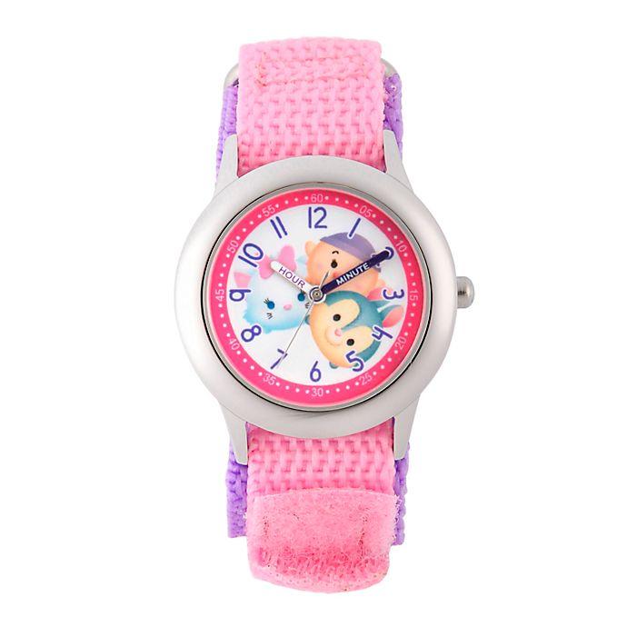 Disney tsum tsum children 39 s 32mm time teacher watch in stainless steel with pink nylon strap for Tsum tsum watch