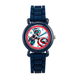Marvel® Children's 32mm Captain America Time Teacher Watch with Blue Silicone Strap