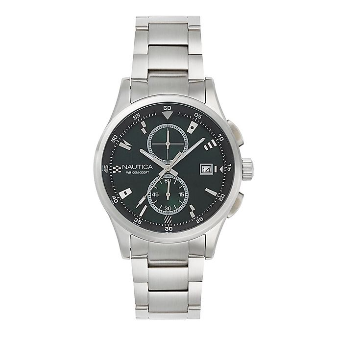 Alternate image 1 for Nautica® Men's 44mm Lisbon Chronograph Watch in Stainless Steel with Interchangeable Green Strap