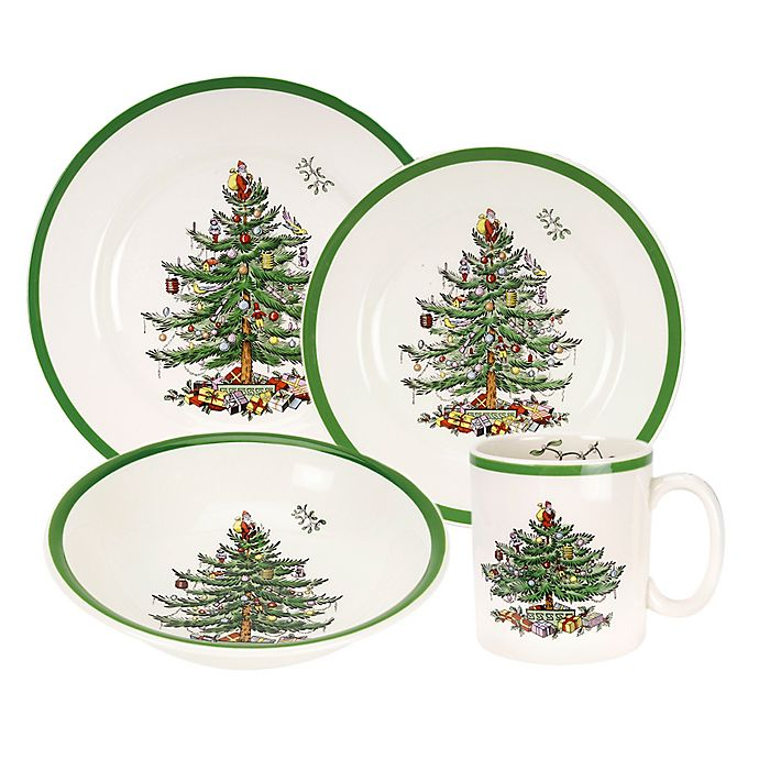 Spode Christmas Plates.Spode Christmas Tree 16 Piece Dinnerware Set Bed Bath