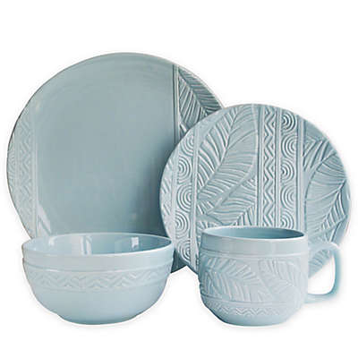 Caribbean Joe Palm Leaf 16-Piece Dinnerware Set in Mist