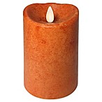 Luminara Real-Flame Effect 4-Inch Pillar Candle in Pumpkin Orange