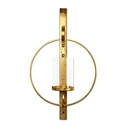 Kate and Laurel Wall Candle Holder Sconce in Gold