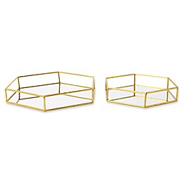 Kate and Laurel Felicia Mirrored Nesting Accent Trays in Gold