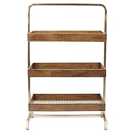 Kate and Laurel Hanne 3-Tray Free Standing Shelf in Gold