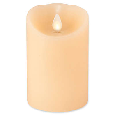 Luminara© Real-Flame Effect 4-Inch Pillar Candle in Ivory