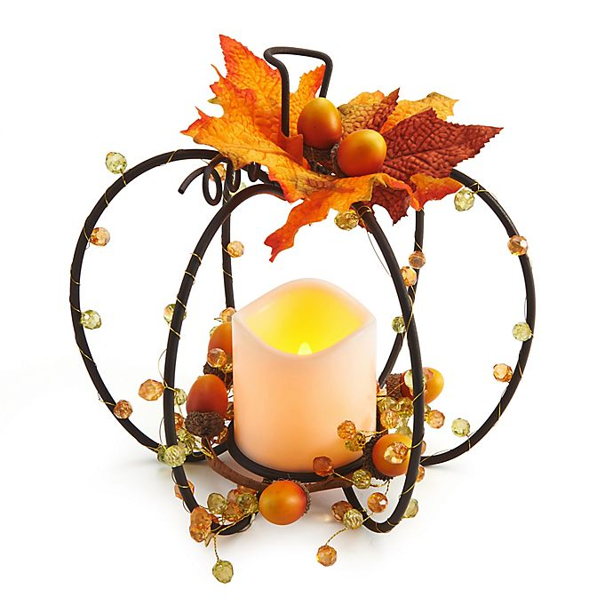 Alternate image 1 for Elements LED Pumpkin Wire Centerpiece