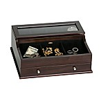 Mele & Co. Hampden Men's Glass Top Wooden Dresser Top Valet in Mahogany