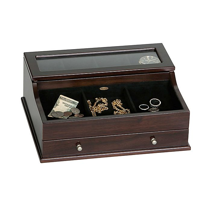 Alternate image 1 for Mele & Co. Hampden Men's Glass Top Wooden Dresser Top Valet in Mahogany