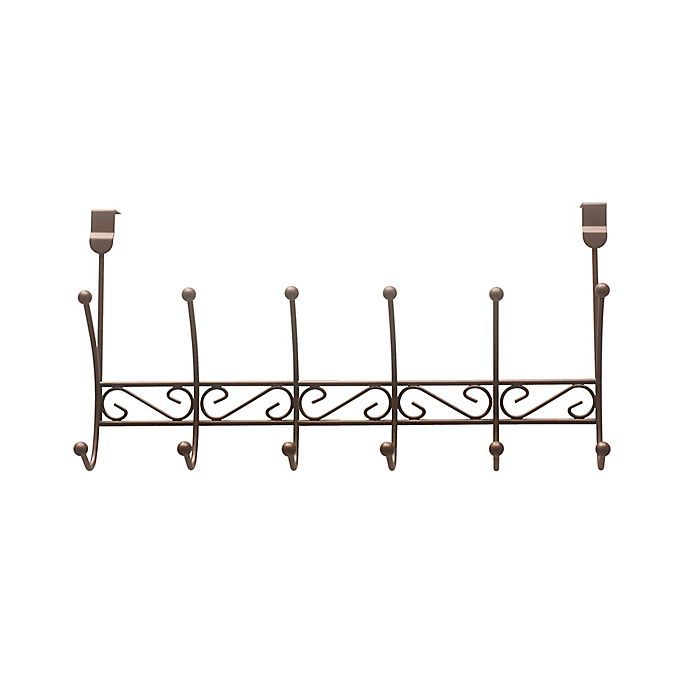 Alternate image 1 for Home Basics® Over-the-Door 6-Hook Curved Hanger in Bronze