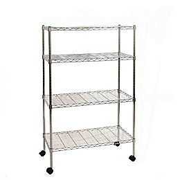 Seville Classics 4-Tier Steel Wire Shelving System with Wheels