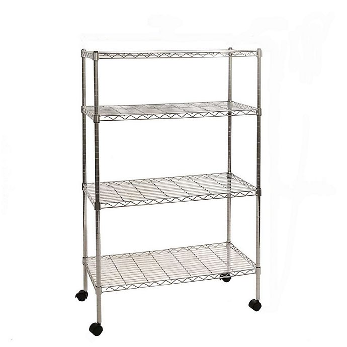 Alternate image 1 for Seville Classics 4-Tier Steel Wire Shelving System with Wheels