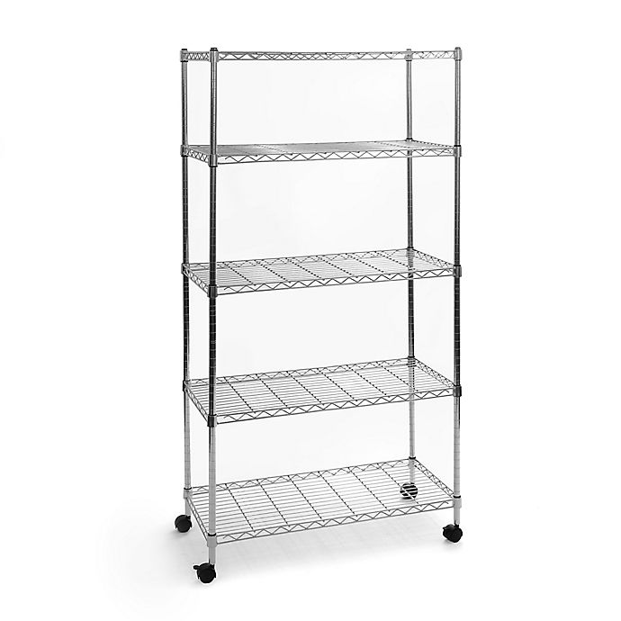 Seville Classics 5 Tier Steel Wire Shelving With Wheels