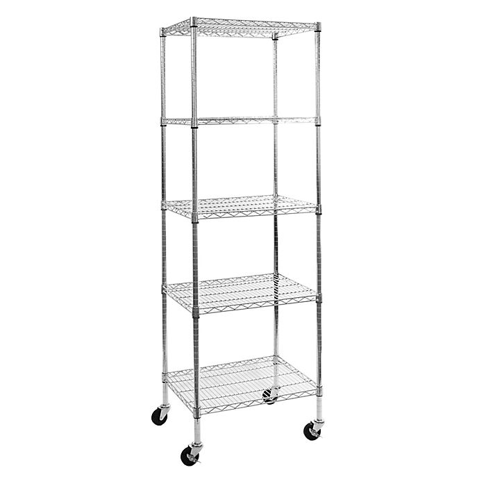 Alternate image 1 for Seville Classics 5-Tier Steel Wire Shelving System with Wheels