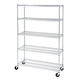 Seville Classics 4' Wide 5-Tier Steel Wire Shelving with Wheels