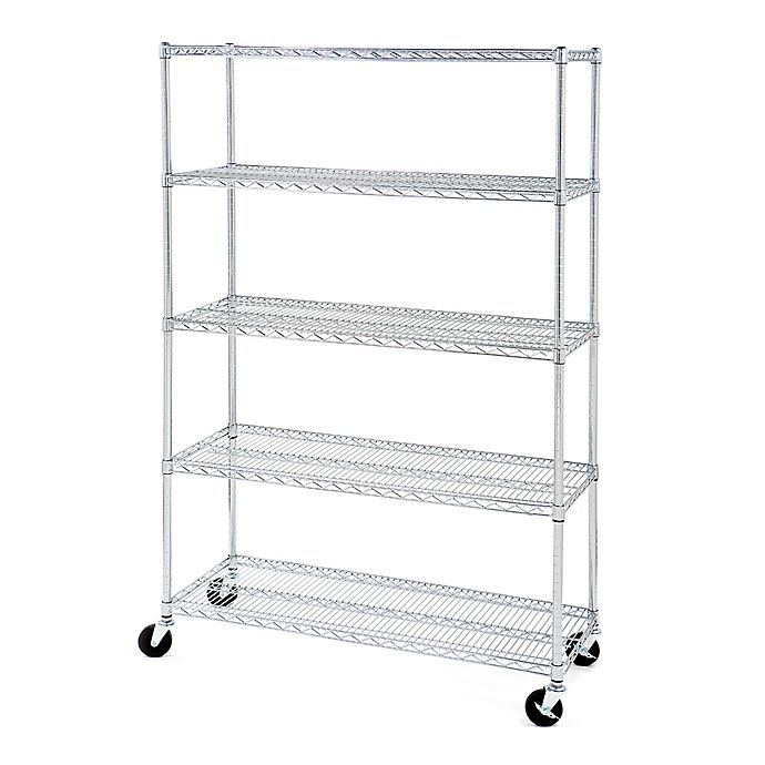 Alternate image 1 for Seville Classics 5-Tier Steel Wire Shelving with Wheels