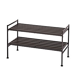 Seville Classics 2-Tier Resin Slatted Shoe Rack in Espresso