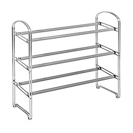 Seville Classics 3-Tier Expandable Shoe Rack in Chrome