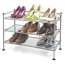 Seville Clics 3 Tier Mesh Utility Shoe Rack In Satin Pewter