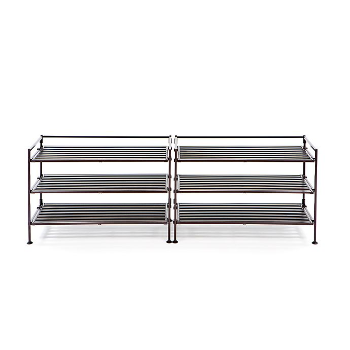 Alternate image 1 for Seville Classics 3-Tier Resin Slatted Shoe Rack (Set of 2)