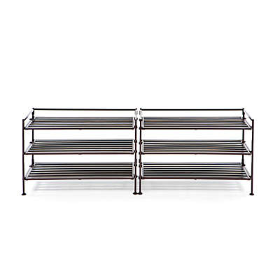 Seville Classics 3-Tier Resin Slatted Shoe Rack (Set of 2)