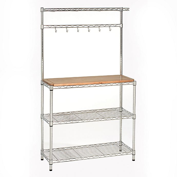 Alternate image 1 for Seville Classics Bakers Rack Workstation with Rubberwood Top