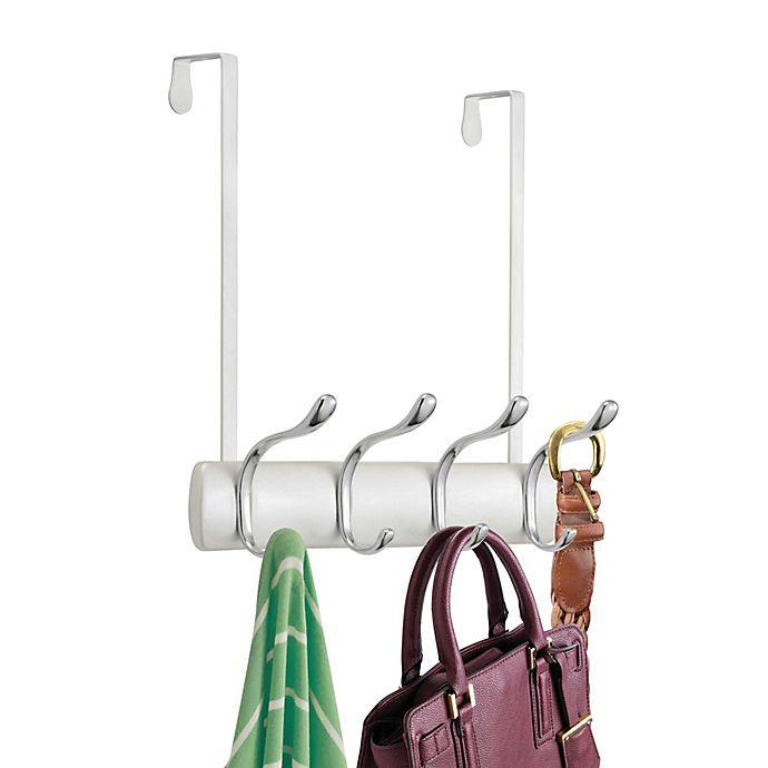 Alternate image 1 for iDesign® 6-Hook Over-the-Door Rack in White/Chrome
