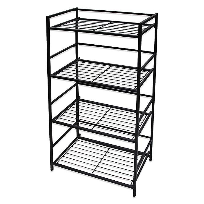 Flipshelf Wide 4 Shelf Unit In Black Bed Bath Amp Beyond