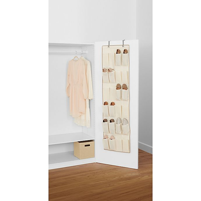 Alternate image 1 for Real Simple® 24-Pocket Over-the-Door Shoe Organizer in Natural