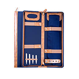 Bey-Berk Travel Tie Case with Collar Stays in Blue/Brown