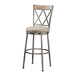Hillsdale Stewart Indoor/Outdoor Stool in Sunbrella® Canvas White/Pewter