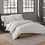 Garment Washed Solid King Duvet Cover Set in Silver