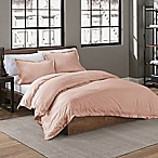 Garment Washed Solid Full/Queen Duvet Cover Set in Blush