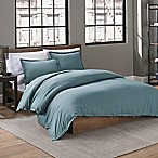 Garment Washed Solid Full/Queen Duvet Cover Set in Teal