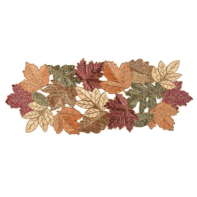 Beaded Leaf 36 Inch Table Runner In Red Bed Bath Beyond