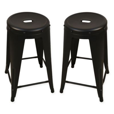 Ezra 24 Inch Metal Counter Stools Set Of 2 Bed Bath