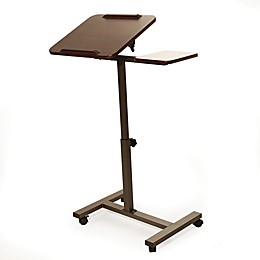 AIRLIFT Tilting Sit-to-Stand Laptop Cart with Mousepad Side Table in Walnut